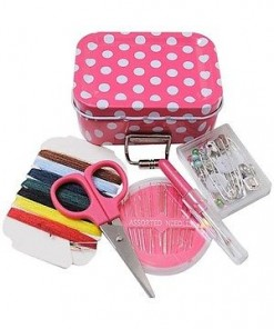 Polka Dot Sewing Kit in a Tin - 8cm x 6cm x 2.8cm 60 Pieces - 3 Colours Avail[Orange]-11